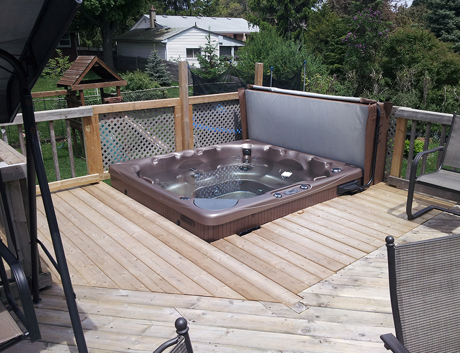 Deck Hot Tub Installation